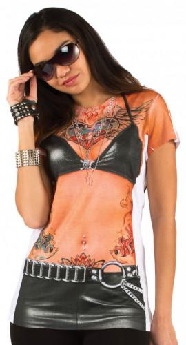 Naisten tatuoitu t-paita