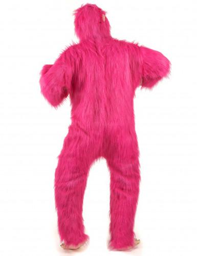 Vaaleanpunainen gorilla- asu aikuisille-2