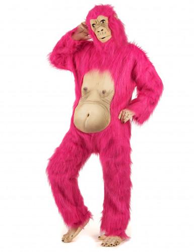 Vaaleanpunainen gorilla- asu aikuisille-1