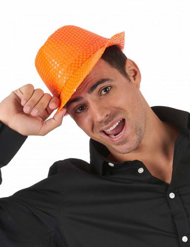 Aikuisten oranssi hattu paljettikoristeilla-1