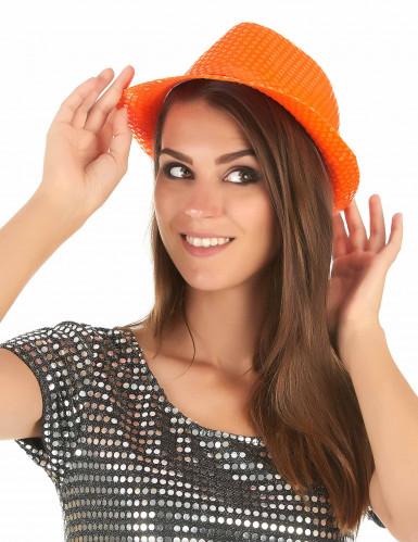 Aikuisten oranssi hattu paljettikoristeilla-2