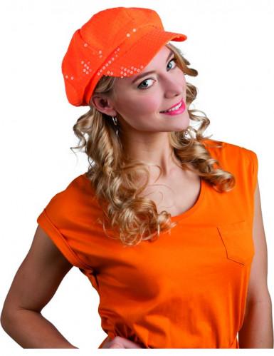 Oranssi paljettilippis aikuiselle