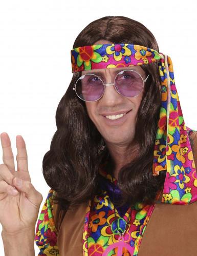 Ruskea hippiperuukki aikuisille
