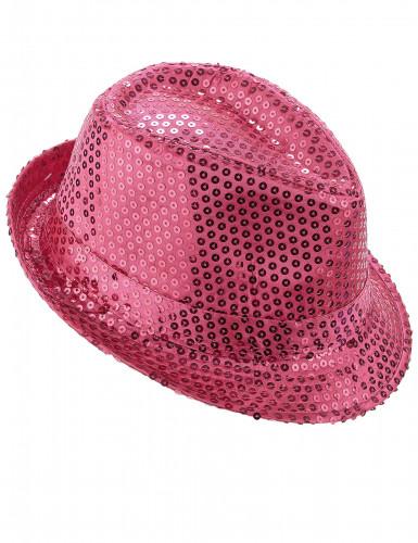 Vaaleanpunainen paljettikoristeltu panamahattu aikuisille