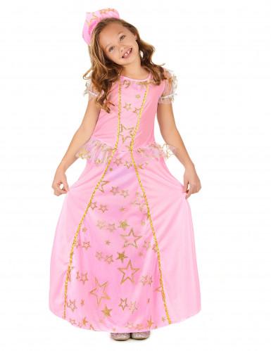 Mekko linnan juhliin - Vaaleanpunainen prinsessamekko lapsille-1