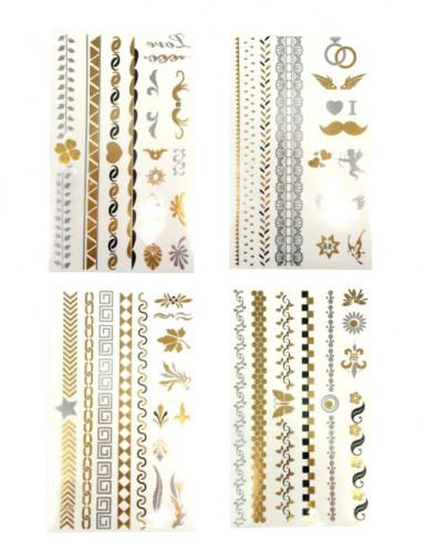 Siirtotatuointilajitelma - sis. kultaisen ja hopean värisiä tatuointeja