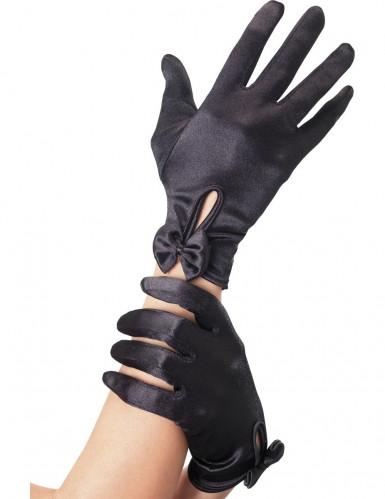 Mustat hansikkaat rusetti