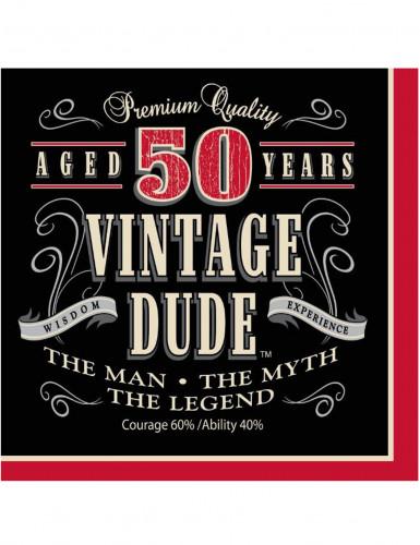 Vintage-tyyliset servietit 50-vuotisjuhliin 16 kpl
