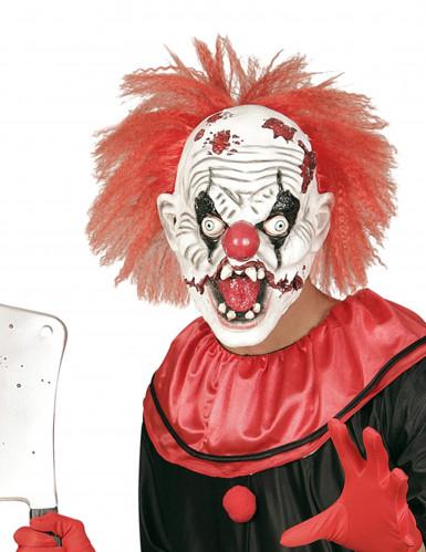 Lateksinen klovnin naamari hiuksilla aikuisille halloween