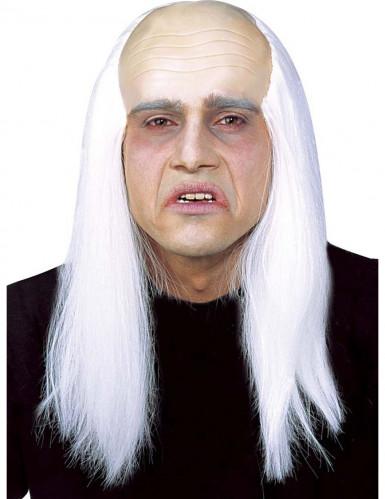 Aikuisten valkoinen peruukki kaljulla päälaella