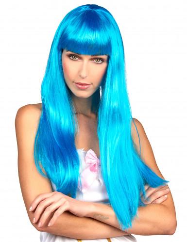 Naisten peruukki Pitkät siniset hiukset otsatukalla