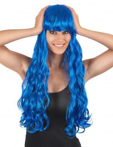 Sininen peruukki, pitkä, kihara