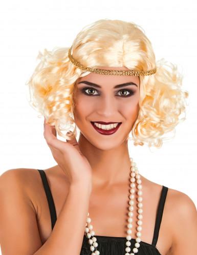 Naisten vaalea peruukki lyhyellä 20-luvun kampauksella