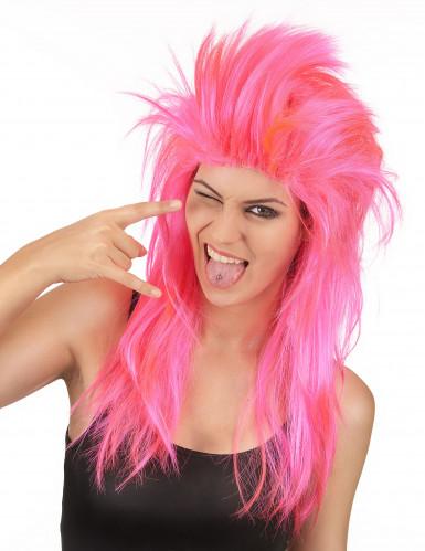 Naisten vaaleanpunainen peruukki Rock-laulaja