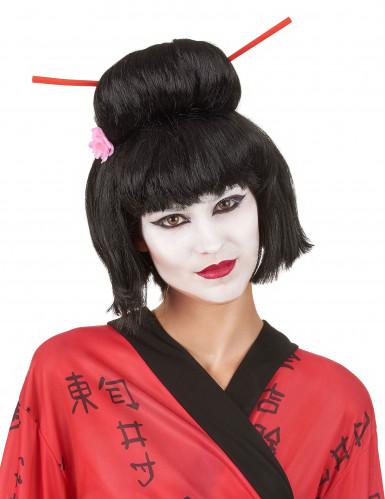 Naisten musta peruukki Geisha