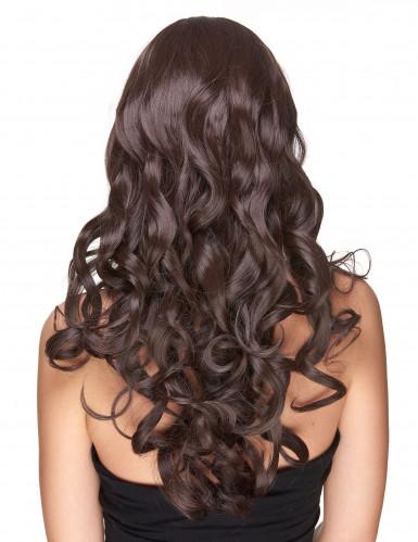 Naisten peruukki pitkät ruskeat kiharat - 251g-1