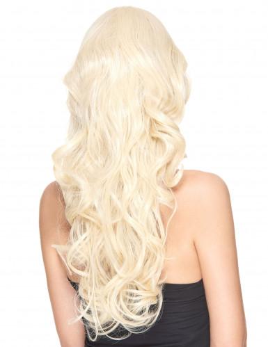 Naisten vaalea peruukki kiharoilla, luksus-1