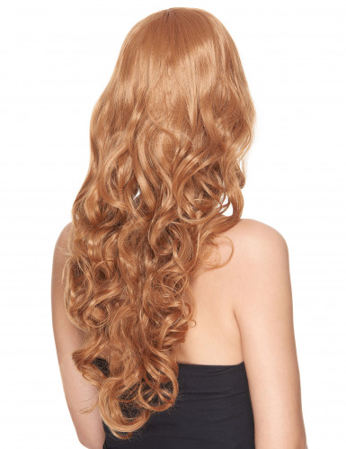 Vaalea ruskea peruukki kiharat-1