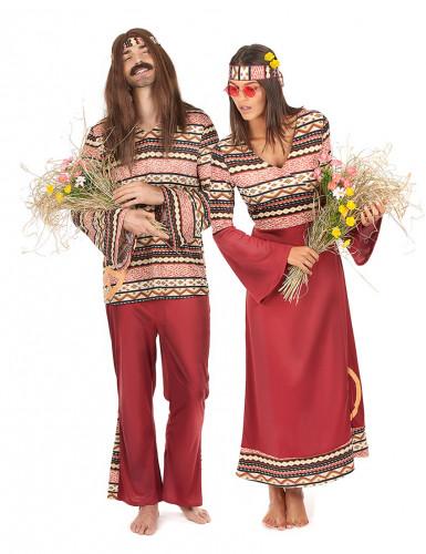 Hippi -pariasusetti aikuisille (viininpunainen)