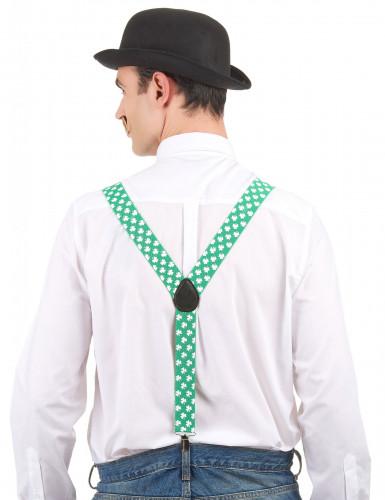 St. Patrick's Day - aikuisten vihreät henkselit valkoisilla apilakoristeilla-1