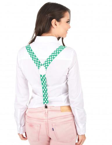 St. Patrick's Day - aikuisten vihreät henkselit valkoisilla apilakoristeilla-2