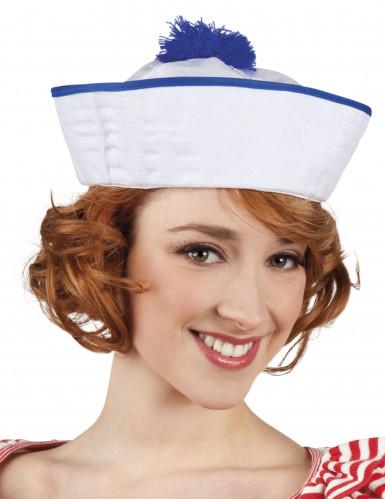 Aikuisten valkoinen merimiehen lakki sinisellä tupsulla