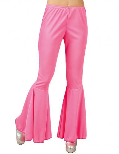 Naisen vaaleanpunaiset discohousut-1