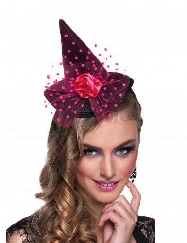 Naisten panta minikokoisella vaaleanpunaisella noidan hatulla - Halloween