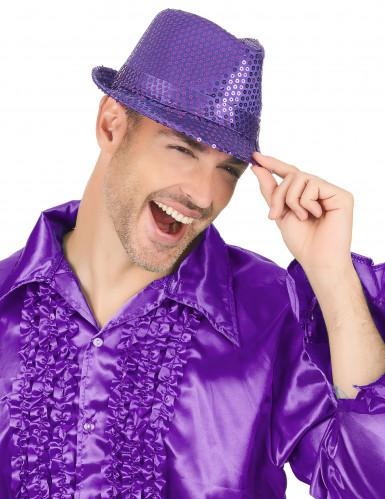 Violetti paljettikoristeltu panamahattu aikuisille-2