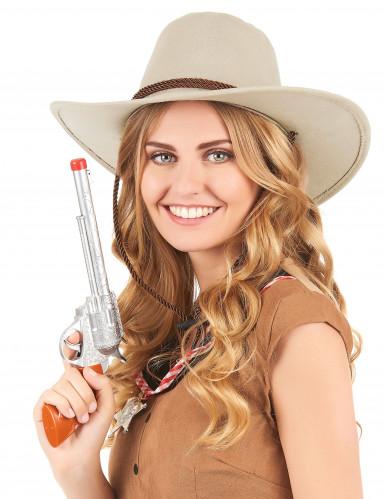 Mokkapintainen beigenvärinen cowboy-hattu aikuisille-1