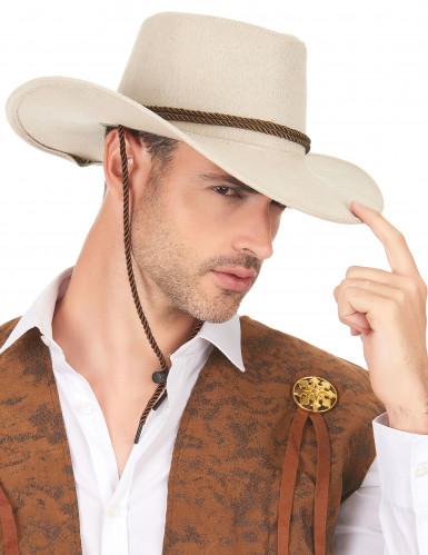 Mokkapintainen beigenvärinen cowboy-hattu aikuisille-2