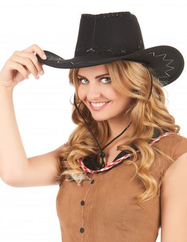 Aikuisten musta mokkapintainen hattu Cowboy-1