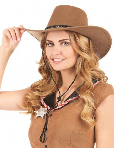 Ruskea mokkanahkainen cowboy-hattu aikuisille-1