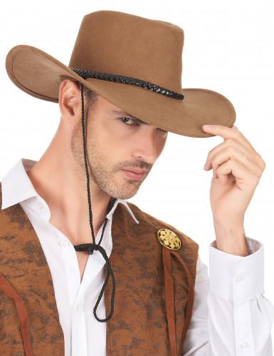 Ruskea mokkanahkainen cowboy-hattu aikuisille-2