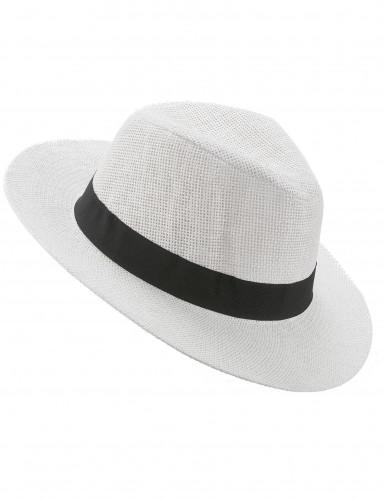 Valkoinen panamahattu mustalla koristenauhalla aikuisille