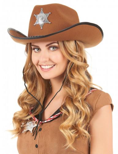 Ruskea Sheriffin hattu aikuisille-1