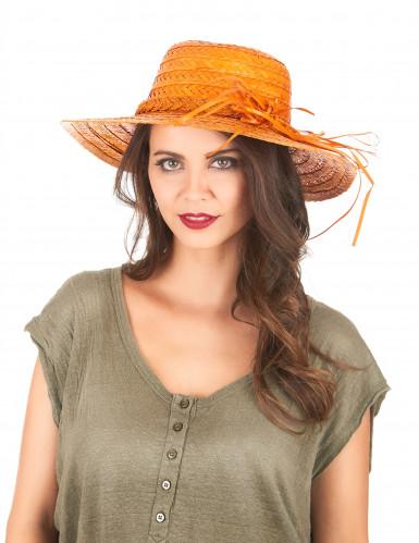 Naisten oranssi vintage olkihattu-1