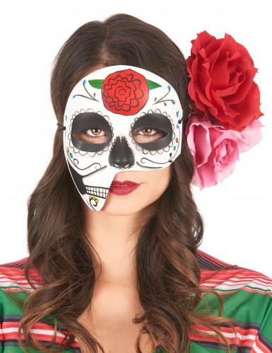 Epäsymmetrinen Dia de los muertos -naamio aikuisille