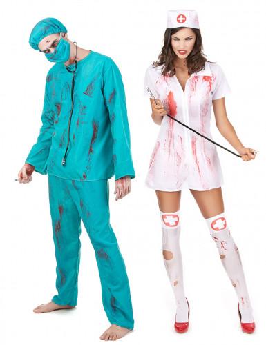 Kirurgi ja sairaanhoitaja - zombipariasu halloween