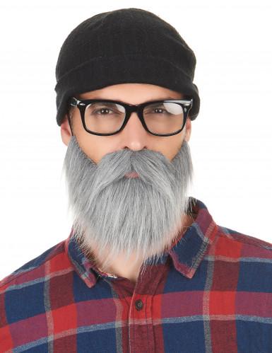 Harmaa parta ja viikset aikuisille-1