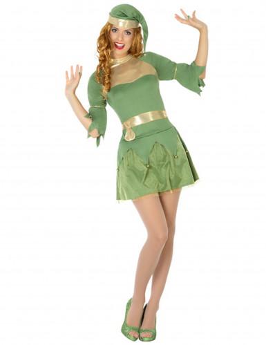 Vihreä joulutontun asu naisille