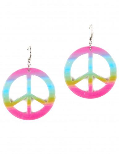 Aikuisten muoviset korvakorut Peace & Love