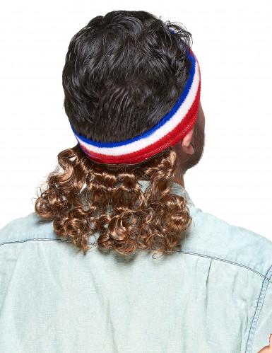 Setti Sini-valko-punainen hiuspanta takatukalla ja viikset-1