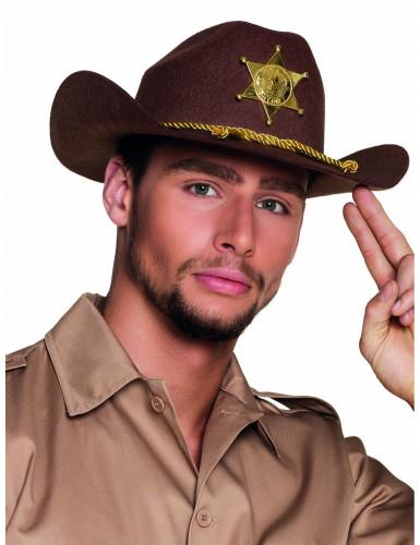 Ruskea seriffin hattu aikuisille