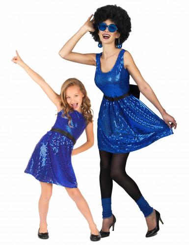 Sininen diskoasu aikuiselle ja lapselle