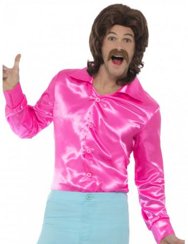 Pinkki satiininen kauluspaita miehelle