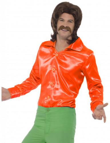 Oranssi satiininen kauluspaita miehelle