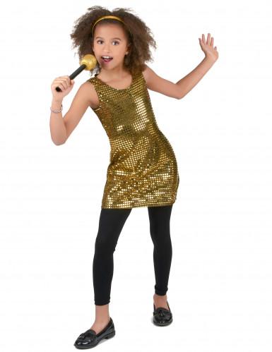 Kultainen disco paljettimekko lapsille-1