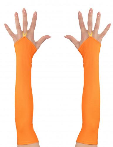 Pitkät neonoranssit käsineet