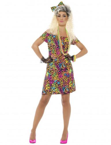80-luvun värikäs leopardimekko naiselle